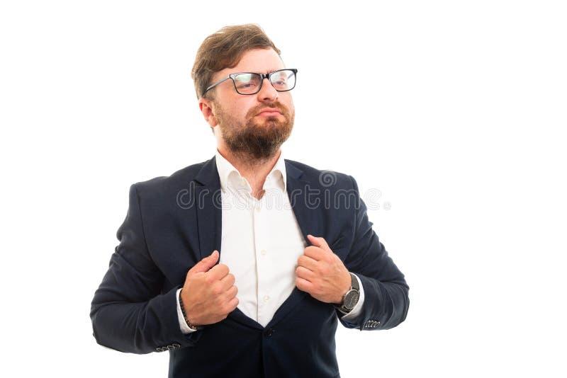 Portret pokazuje super bohatera gest biznesowy mężczyzna fotografia stock