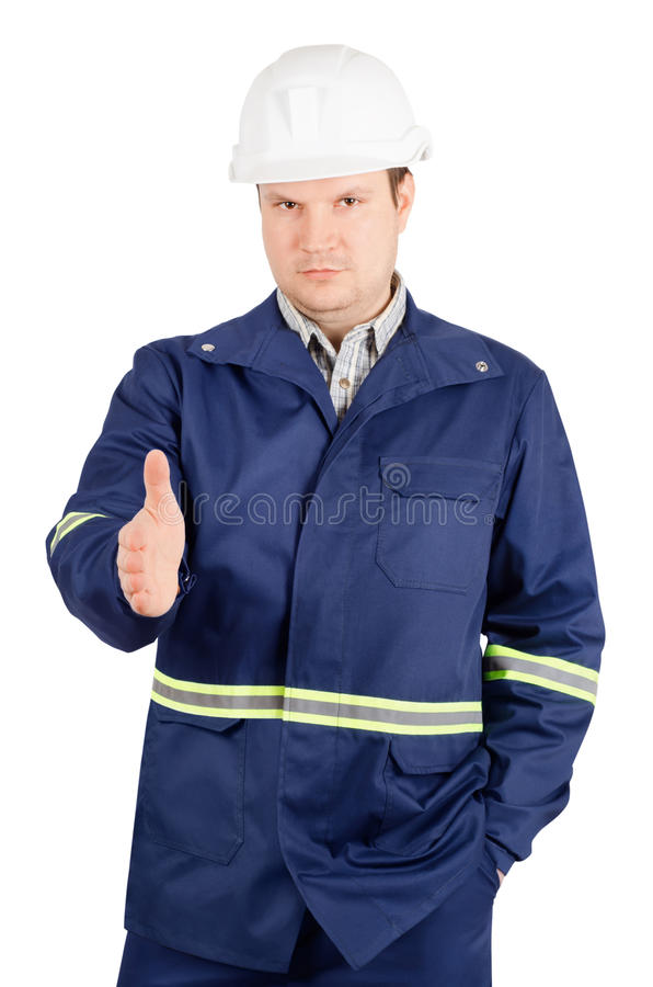 Portret potomstwo inżynier z ręką przedłużyć uścisk dłoni zdjęcie royalty free