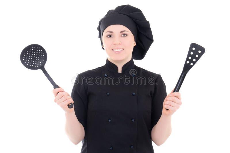 Portret potomstwo kucbarska kobieta w czerń mundurze z plastikowymi utens zdjęcia stock