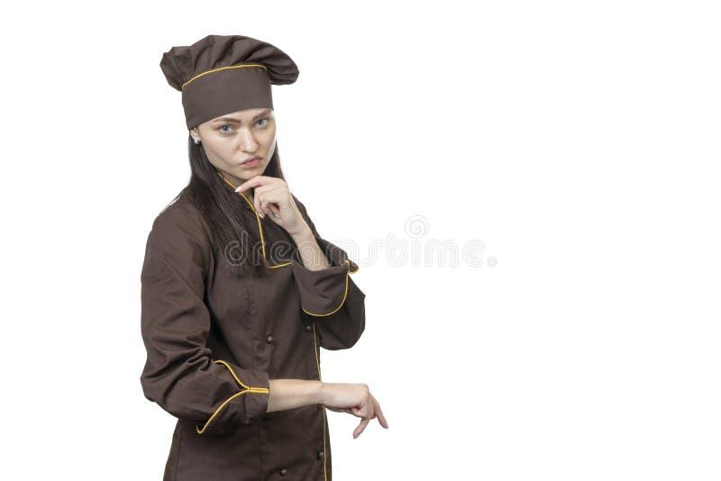 Portret poważny kobieta kucharz obraz stock