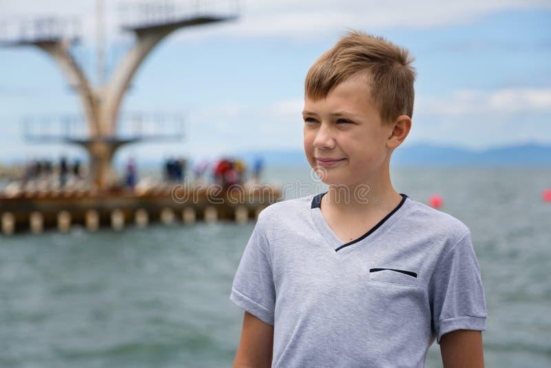 Portret poważna chłopiec obraz stock