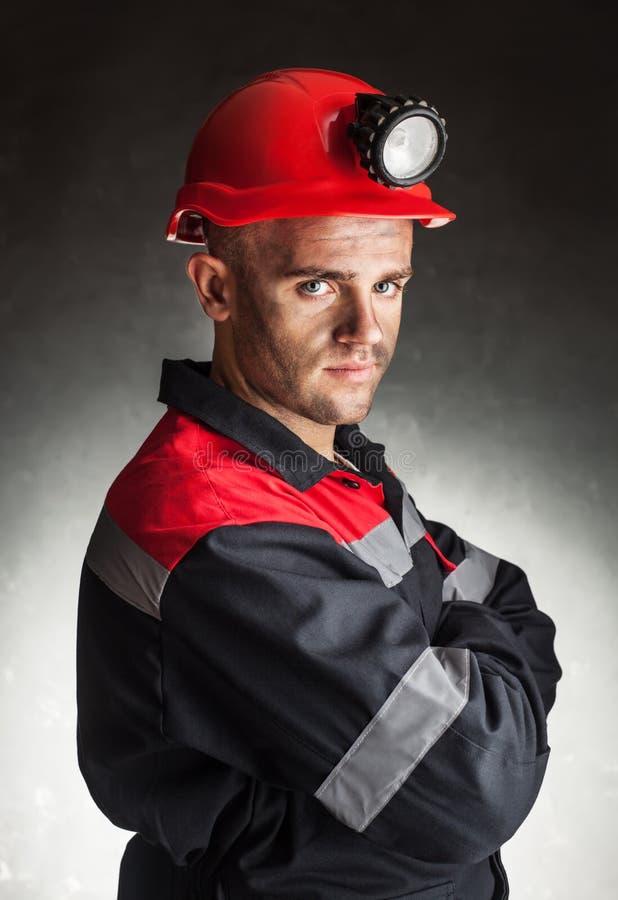 Portret poważny węglowy górnik obraz stock