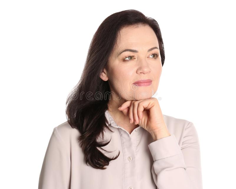 Portret powabna dojrzała kobieta z zdrową piękną twarzy skórą i naturalnym makeup obraz stock
