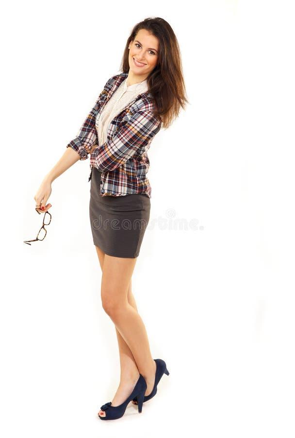 Powabna kobieta w Pracownianym mieniu Jej Eyeglasses obrazy stock