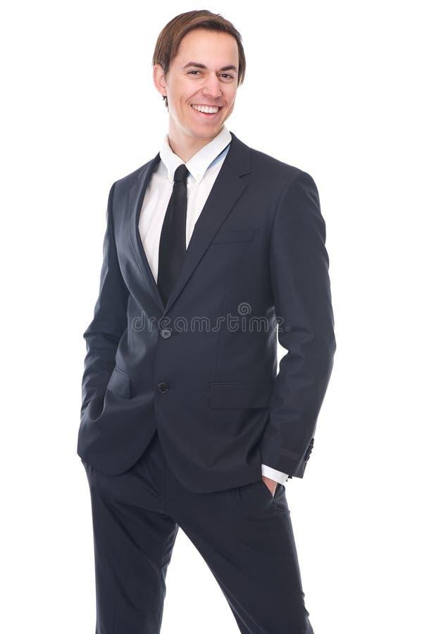 Portret powabny młody biznesmena ono uśmiecha się zdjęcia stock