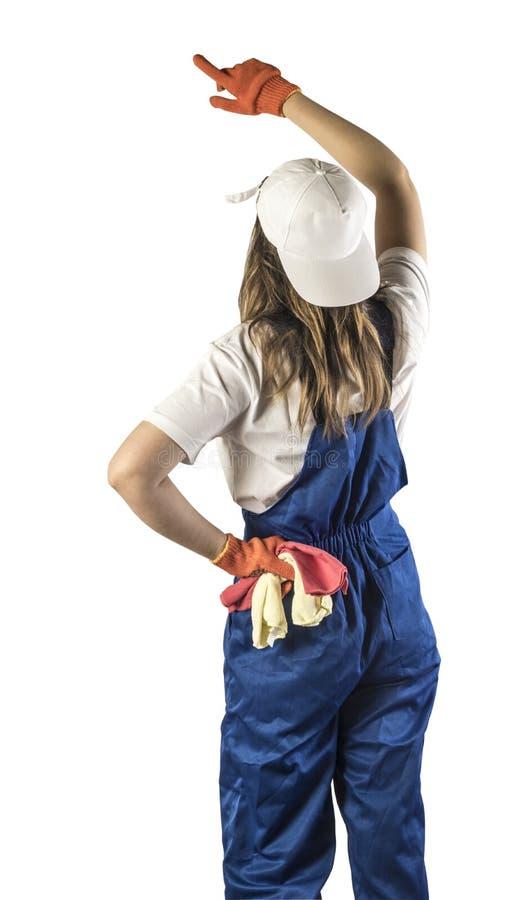 Portret pracownik na białym odosobnieniu zdjęcie royalty free