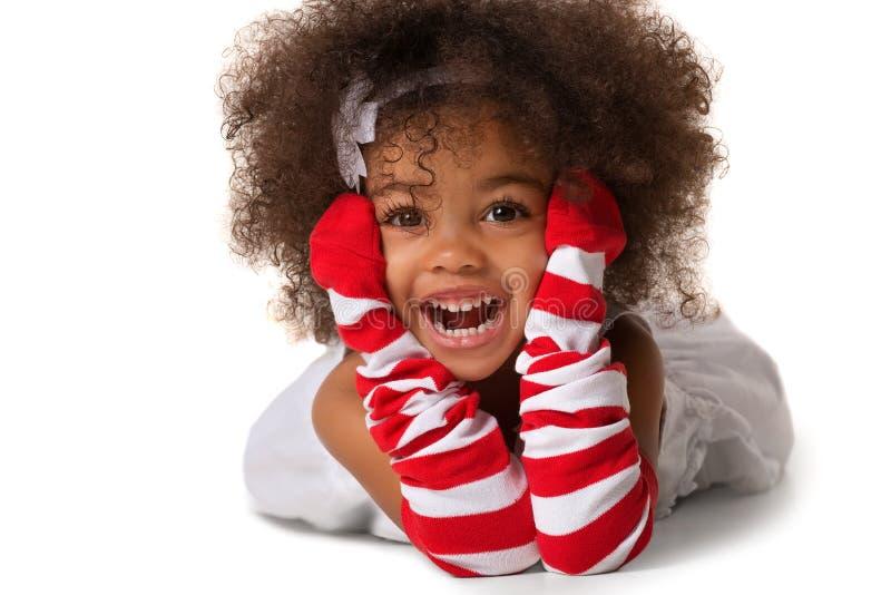 Portret preschool dziecko dziewczyna kłaść w dół fotografia royalty free