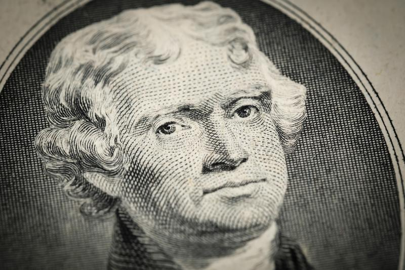 Portret prezydenta Thomas Jefferson portret na dwa 2 amerykańskim dolarowym rachunku Makro- zakończenie w górę widoku fotografia stock