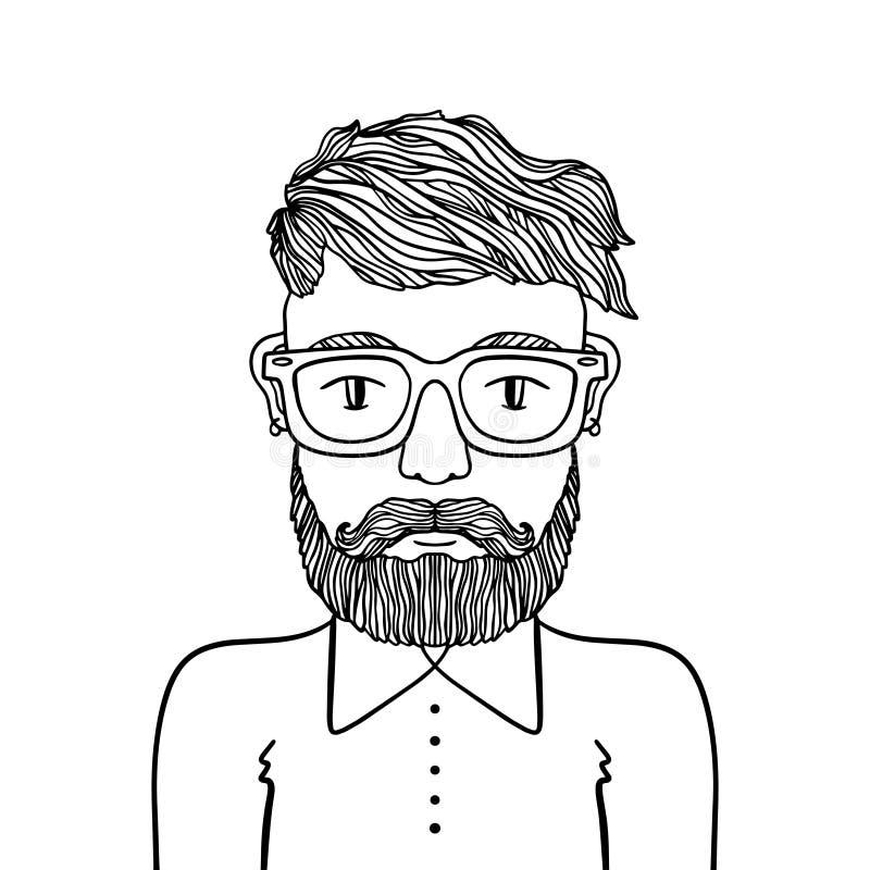 Portret przystojny elegancki przypadkowy mężczyzny modniś z brodą Nakreślenia doodle stylu ilustracja Barwić strona element ilustracji