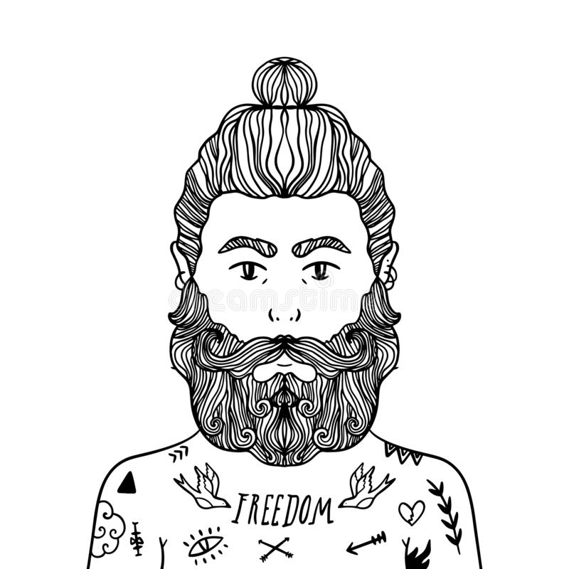 Portret przystojny elegancki przypadkowy mężczyzny modniś z brodą Nakreślenia doodle stylu ilustracja Barwić strona element ilustracja wektor