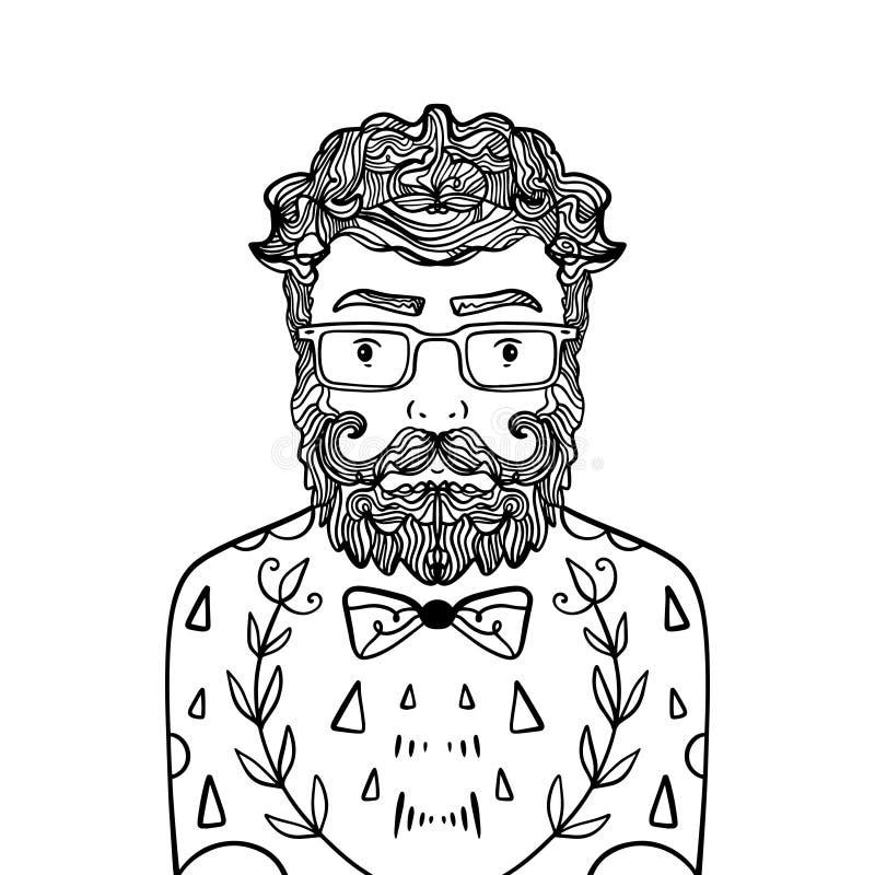 Portret przystojny elegancki przypadkowy mężczyzny modniś z brodą Nakreślenia doodle stylu ilustracja Barwić strona element royalty ilustracja
