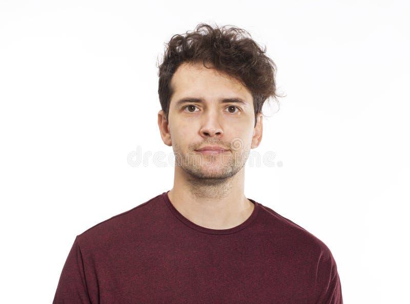 Portret Przystojny mężczyzna ono Uśmiecha się Przy kamerą Odizolowywający na bielu fotografia stock
