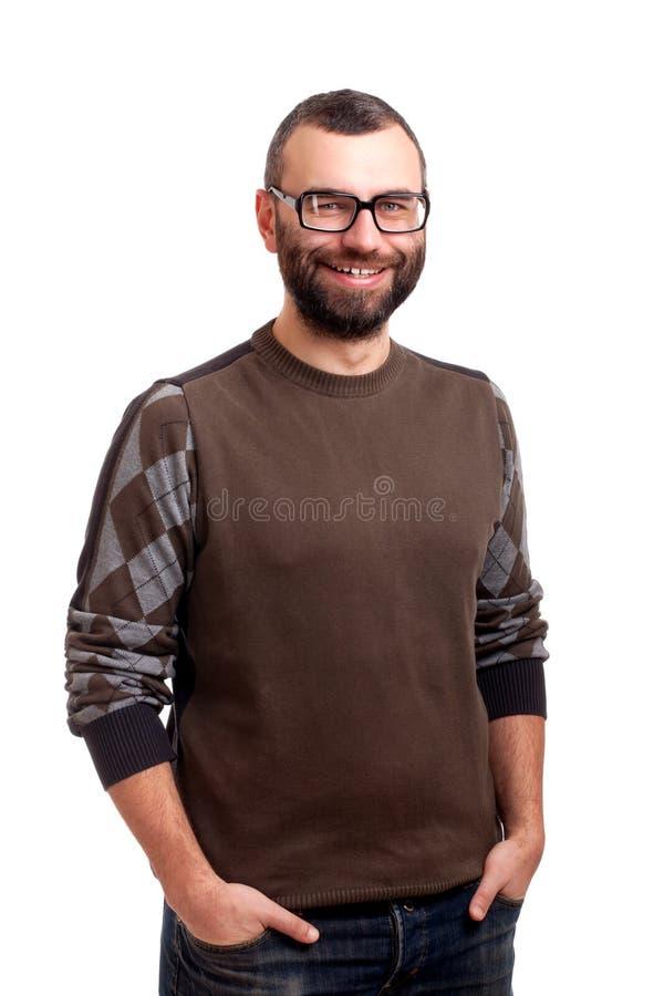 Portret przystojny młody człowiek z brodą obrazy royalty free