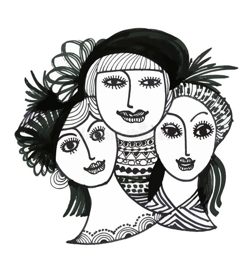 Portret ręka rysować kobiety w kapeluszach na białym tle royalty ilustracja