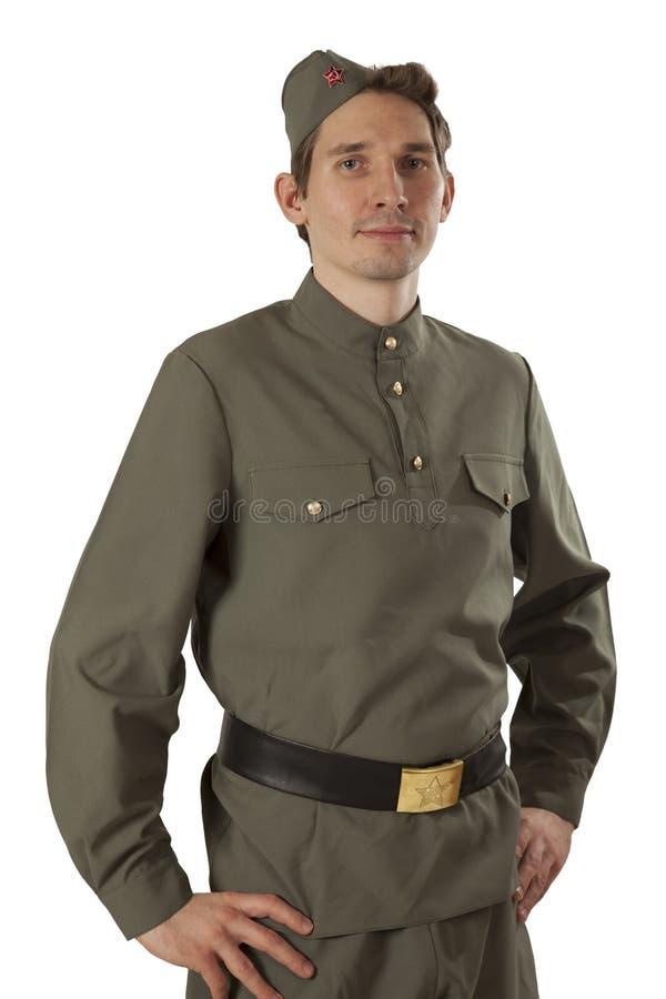 Portret Radziecki żołnierz nad bielem fotografia royalty free