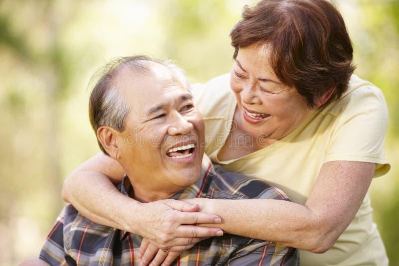 Portret romantisch hoger Aziatisch paar in openlucht royalty-vrije stock foto