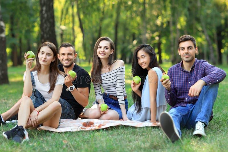 Portret rozochoceni przyjaciele trzyma zielonych jabłka siedzi na grą zdjęcia stock
