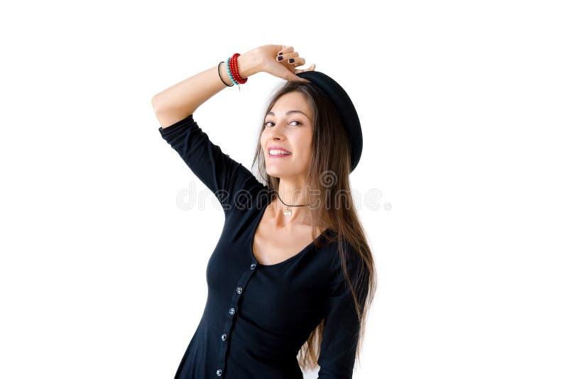 Portret rozochoconej modniś dziewczyny szeroki uśmiech obraz stock