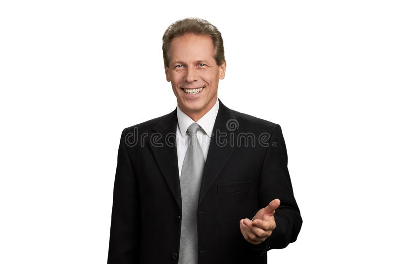 Portret rozochocony biznesmen na białym tle fotografia stock