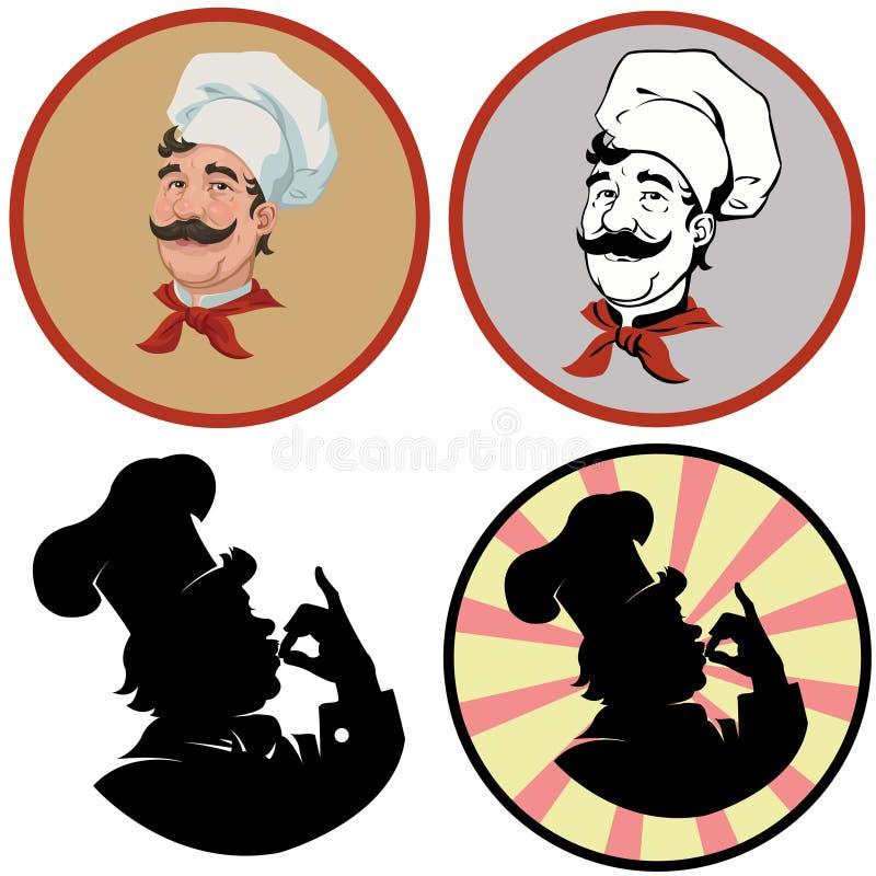Portret rozochocony kucharz Set cztery ilustraci ilustracja wektor