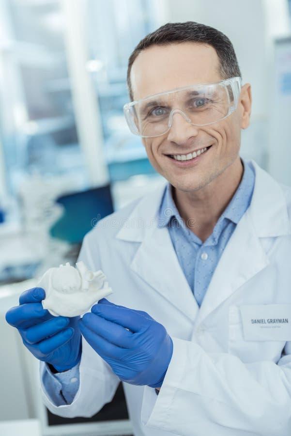 Portret rozochocony naukowiec trzyma modela serce obrazy stock