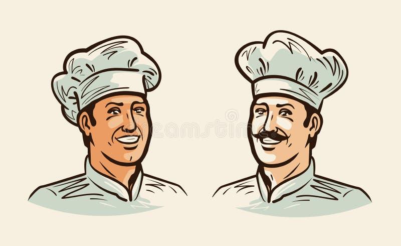 Portret rozochocony szef kuchni, kucharz Ilustracja dla projekta menu kawiarni lub restauraci Rocznika wektor ilustracji