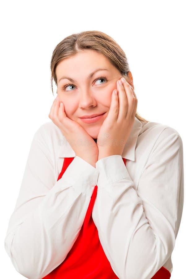 Portret rozważna ładna dziewczyna w czerwonym fartuchu obrazy stock