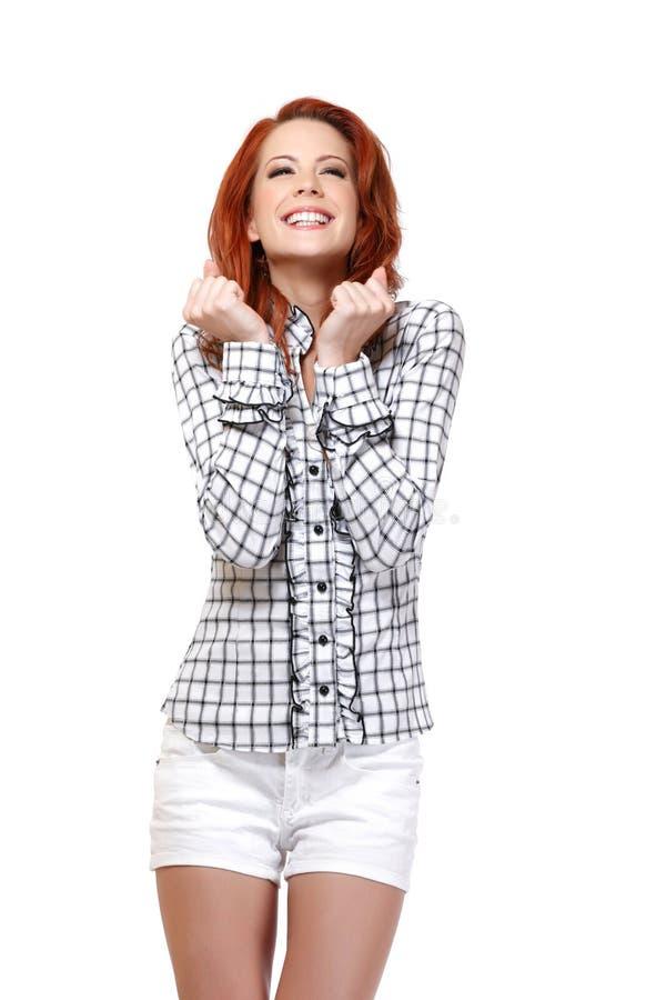 Portret rudzielec z podnieceniem kobieta obrazy royalty free
