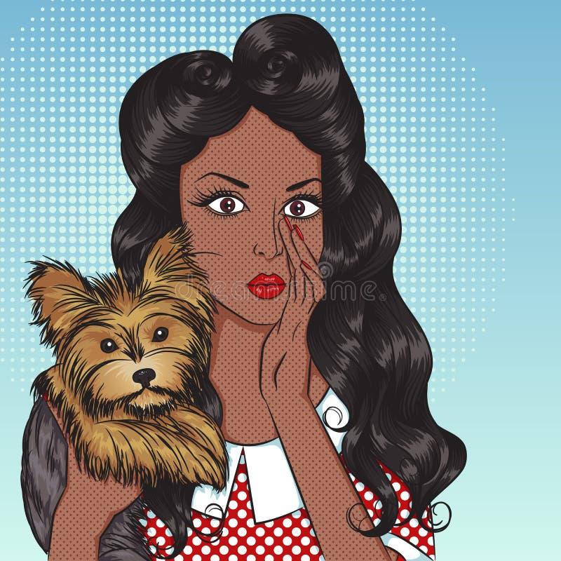 Portret seksowna amerykanin afrykańskiego pochodzenia dziewczyna z małym psem Yorkshire royalty ilustracja
