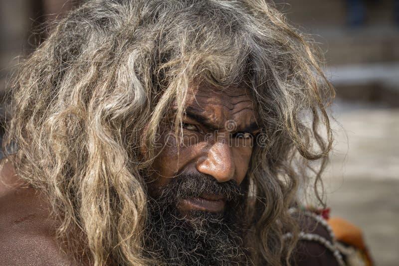Portret Shaiva sadhu, święty mężczyzna w Varanasi, India fotografia stock