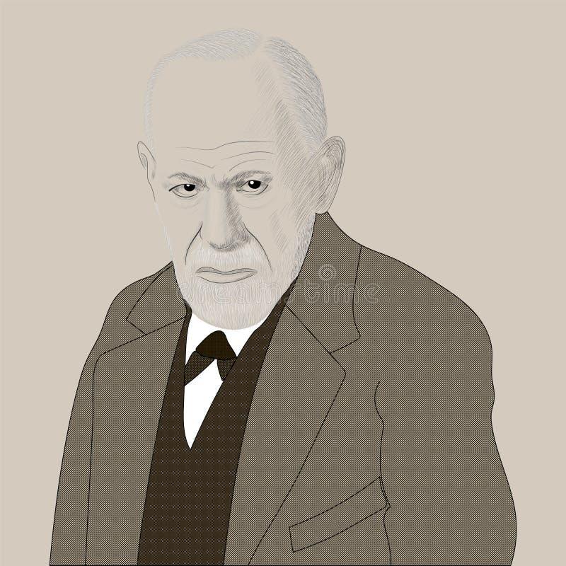 Portret Sigmund Freud Założyciel psychoanaliza szczotkarski w?giel drzewny rysunek rysuj?cy r?ki ilustracyjny ilustrator jak spoj ilustracja wektor