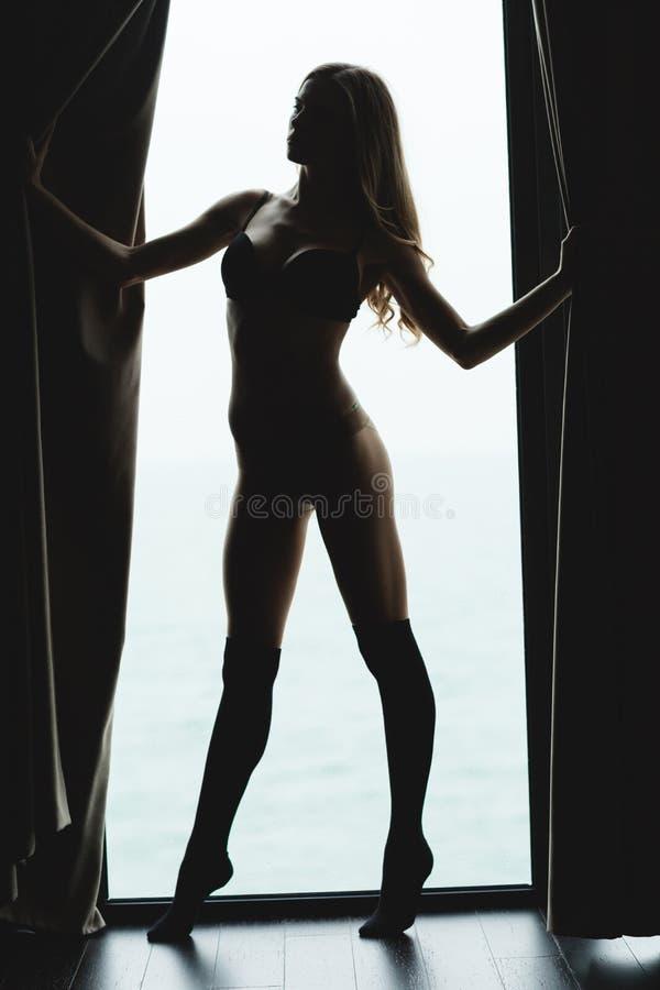 Portret in silhouet van verleidelijk mooi jong wijfje stock fotografie