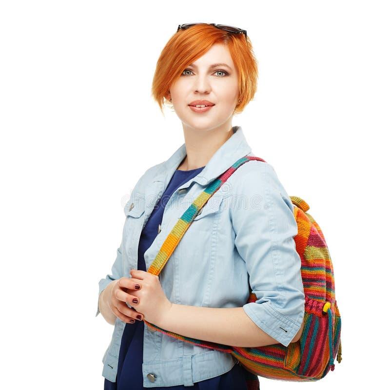 Portret skrzętny dziewczyna ucznia uniwersytet lub szkoła wyższa Odizolowywający obraz stock