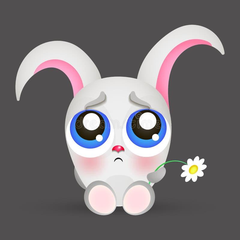 Portret smutny królik ilustracja wektor