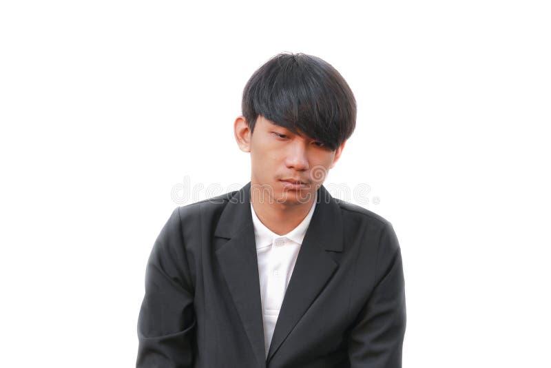 Portret smutny mężczyzna na białym tle fotografia stock