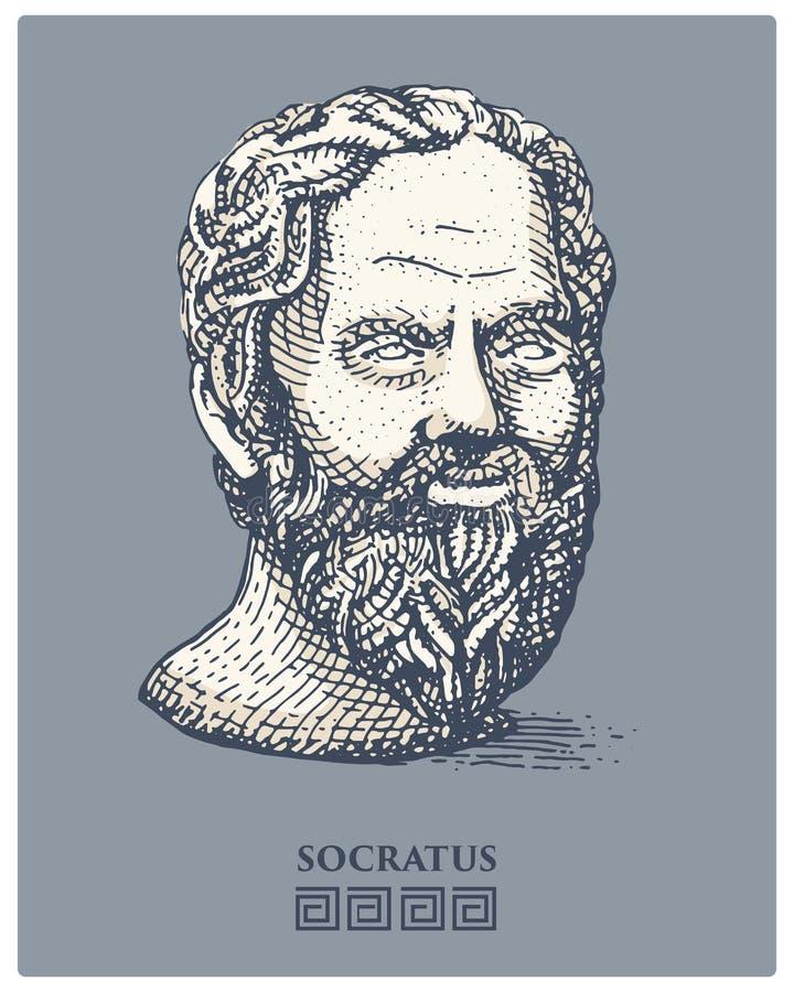 Portret Socrates Starożytnego Grka filozof i myśliciela rocznik, naukowiec, grawerowaliśmy rękę rysującą w nakreśleniu lub drewni ilustracji
