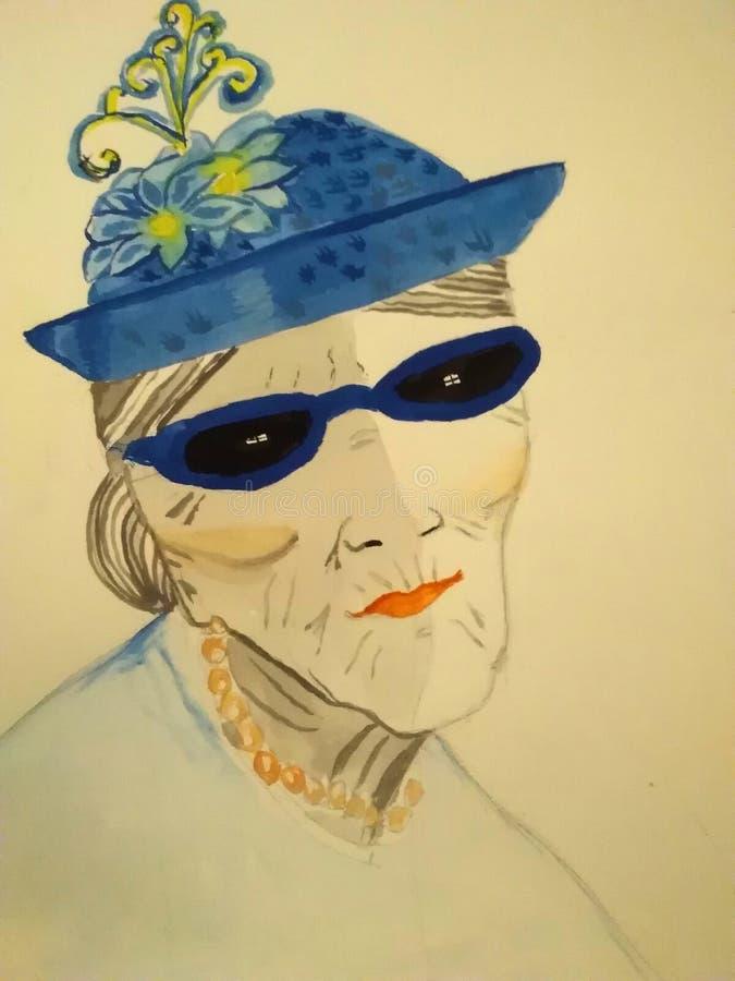 Portret - stara dama z błękitnymi okularami przeciwsłonecznymi i kapeluszem nakreślenie TARGET688_1_ ręką ilustracji