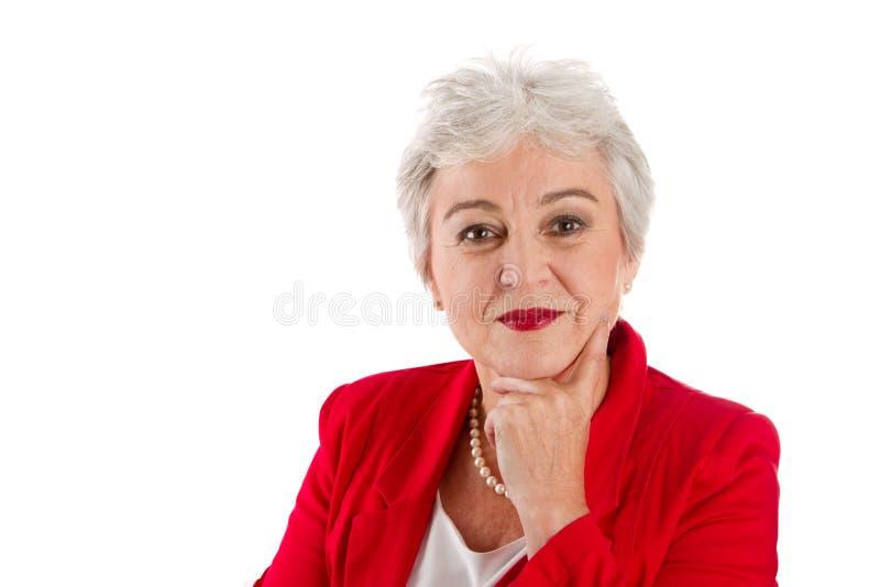 Portret stara kobieta odizolowywająca na bielu zdjęcia stock