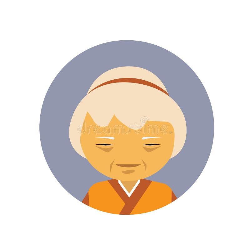 Portret Starsza Azjatycka kobieta W Tradycyjnej Odzieżowej Chińskiej Żeńskiej Avatar ikonie ilustracji