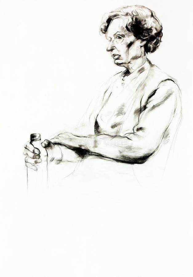 Portret starsza kobieta royalty ilustracja