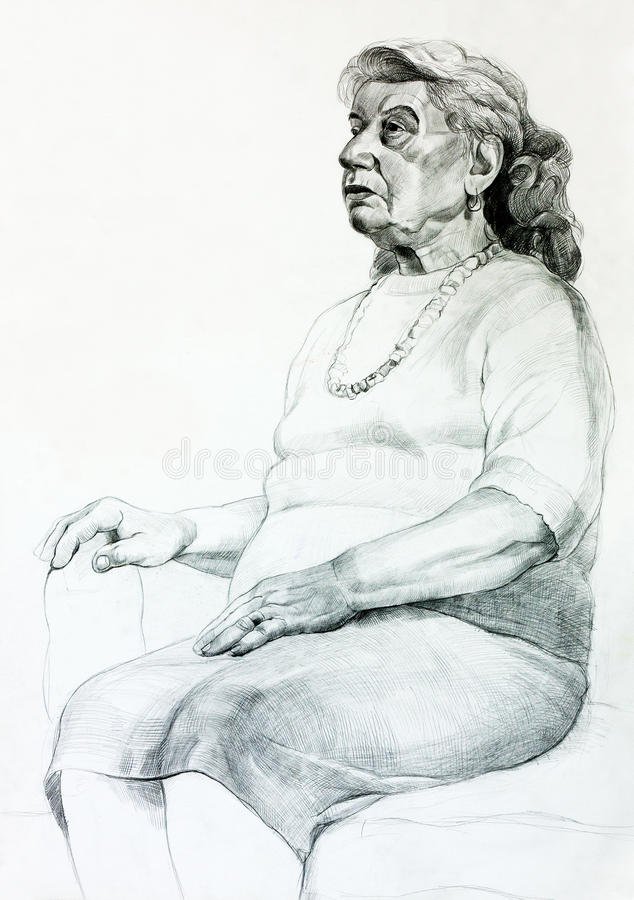Portret starsza kobieta ilustracja wektor