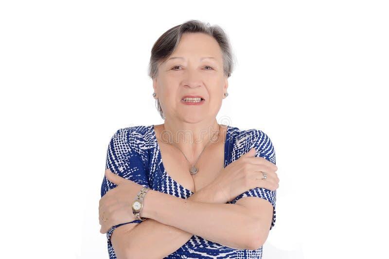 Portret starszej kobiety czuciowy zimno zdjęcia royalty free
