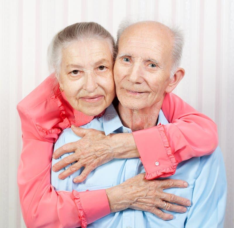 Portret starszej osoby uśmiechnięta para fotografia stock