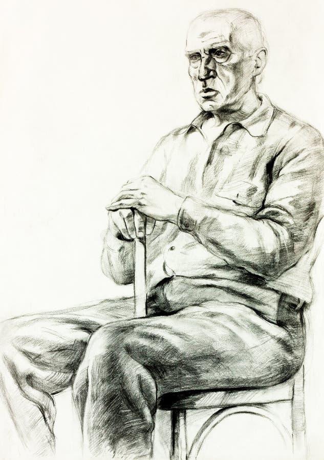 Portret starszy mężczyzna royalty ilustracja