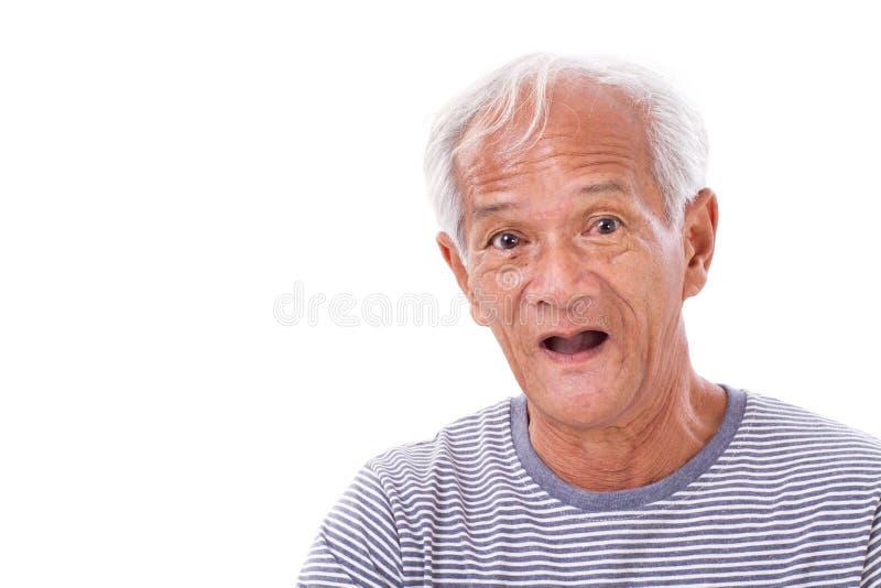 Portret stary starszy mężczyzna z oko chorobą, surfingowa oko, pter zdjęcia royalty free