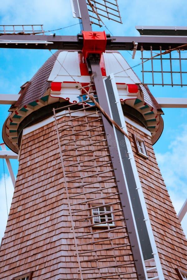 Portret strzelał wiatraczek w Holandia Michigan podczas tulipanowego czasu obrazy stock