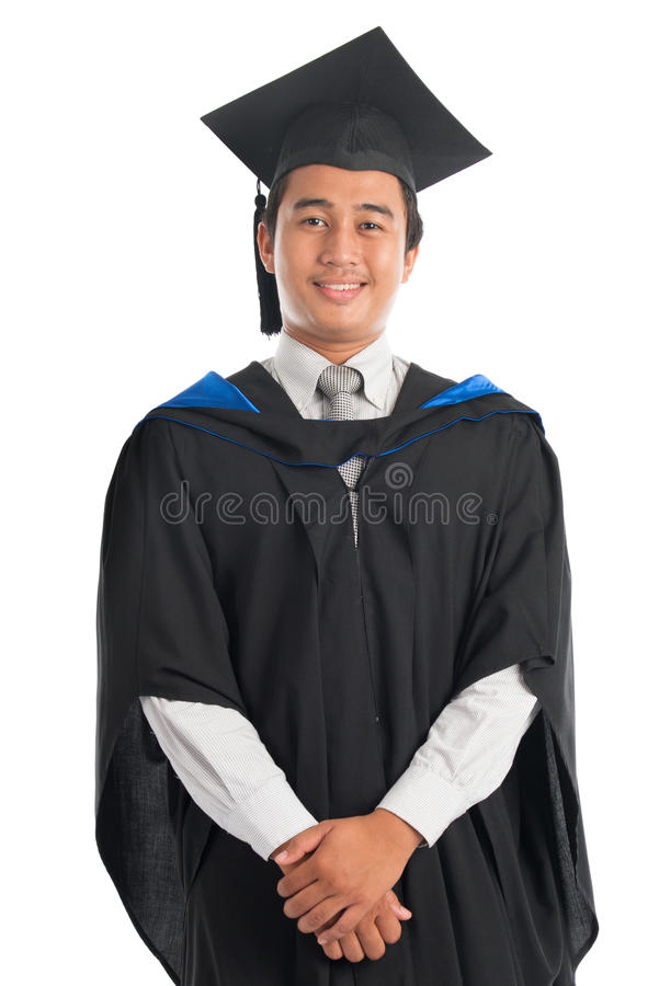 Portret student uniwersytetu w skalowanie todze fotografia stock