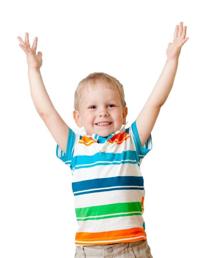 Portret szczęśliwa dzieciaka chłopiec odizolowywająca na biel zdjęcie stock