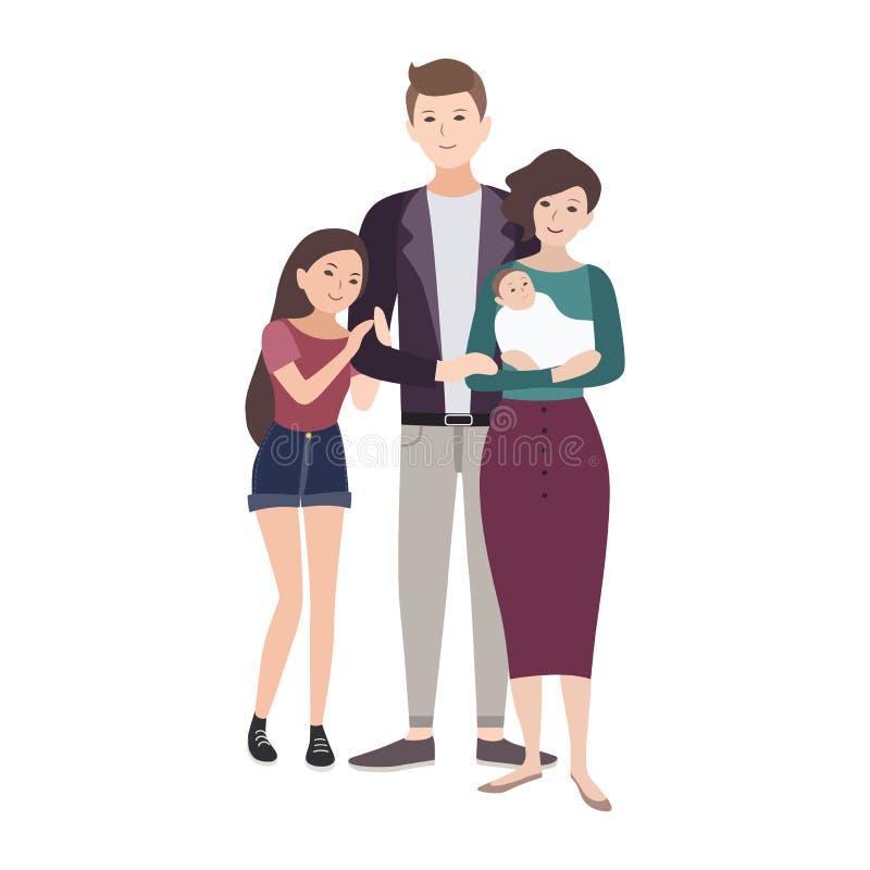 Portret szczęśliwa kochająca rodzina ilustracji