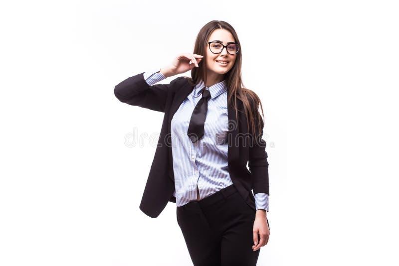 Portret szczęśliwa młoda biznesowa kobieta z ręki pobliską twarzą obraz royalty free
